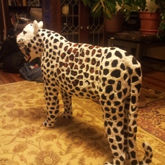 Gigantic pipe cleaner leopard with tail, head and teeth