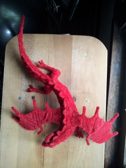 Top view of the pipe cleaner dragon