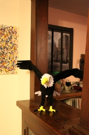 Pipe cleaner eagle completed animal front view